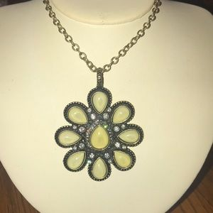 Metallic bronze tone chain necklace charm LOLO